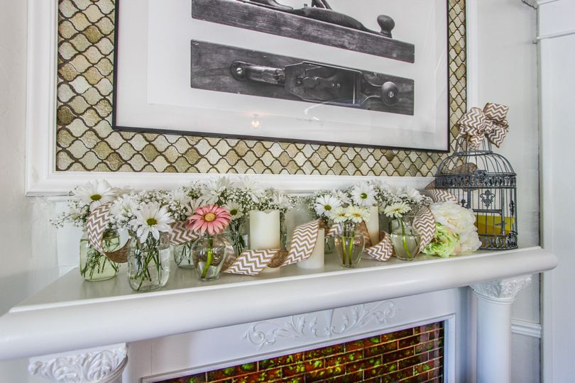 flowers on the mantel