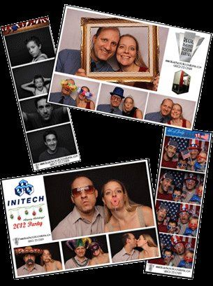 Choice of 2x6 photo strips or 4x6 photo print.  Customizable logo, text, and background.