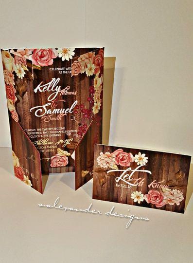 RUSTICS 2 - STANDING WEDDING SET - Custom Designed Invite Pocket & RSVP Postcard
