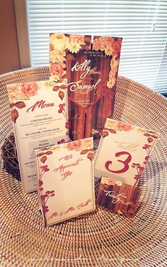 RUSTICS 2 - STANDING WEDDING SET - Custom Designed Invite Pocket & Suite