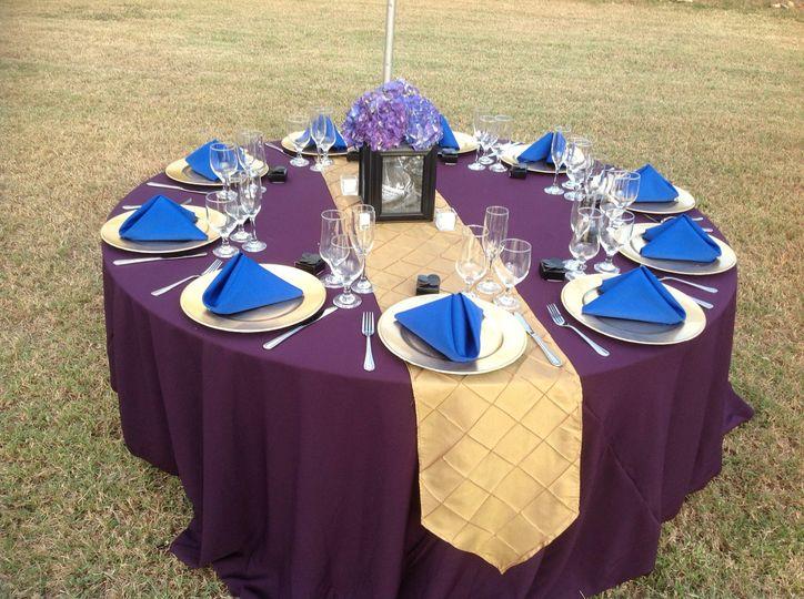Purple and blue decor