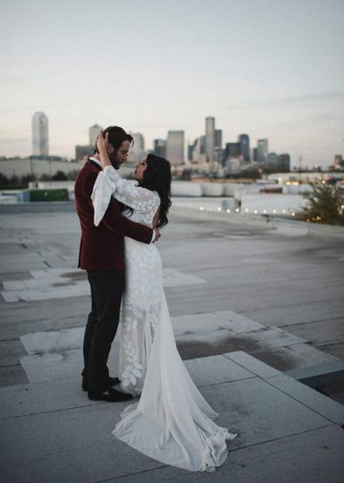Newlyweds on the rooftop