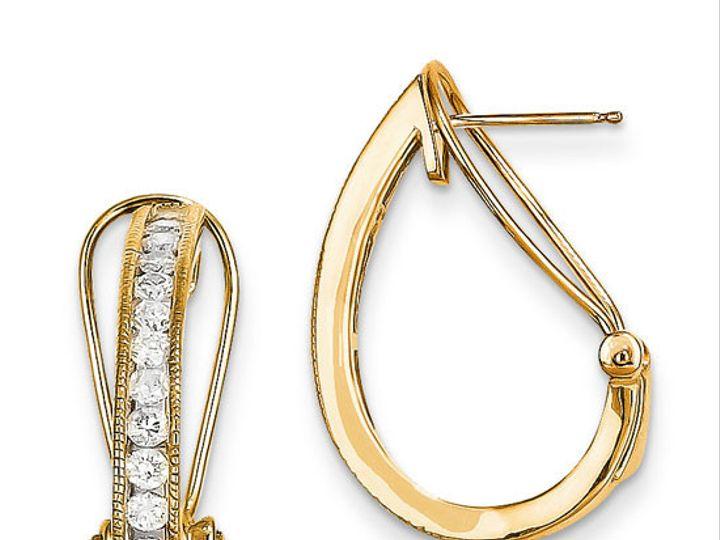 Tmx 1429993633194 14k Yellow Gold Diamond Hoop Earrings Oak Harbor wedding jewelry