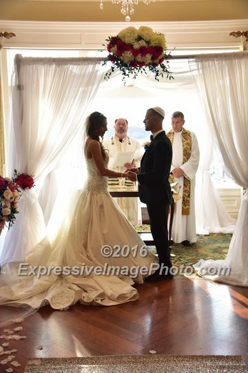 Kate and Brandon's wedding ceremony at Clark's Landing Yacht Club, Point Pleasant Beach, NJ