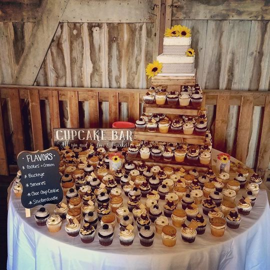 2 Tier square cake with 200 specialty cupcakes