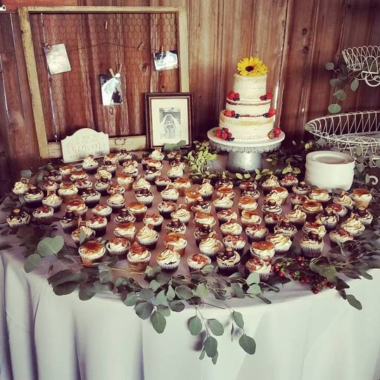 Cupcakes and a semi naked cake