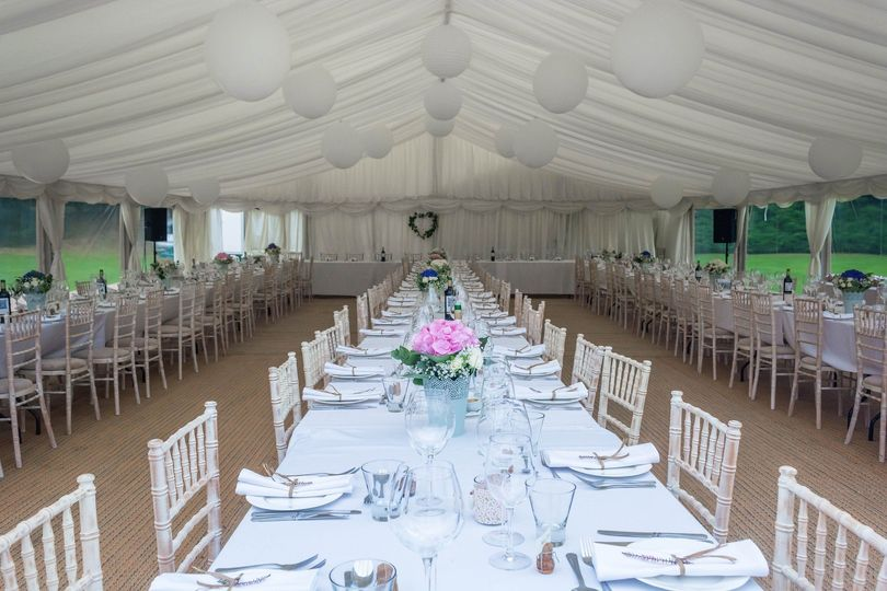 Ceiling draping adds that romantic touch