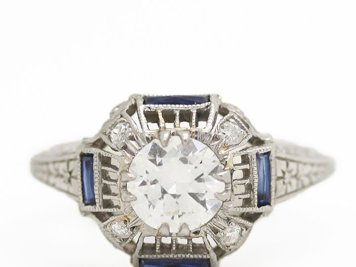Tmx 1483022734154 Estate Diamond Engagement Ring With Side Sapphire  Providence wedding jewelry