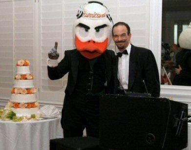 University of Miami-themed wedding reception at the Palms Hotel in Miami Beach.