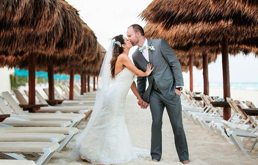 Beach couple wedding