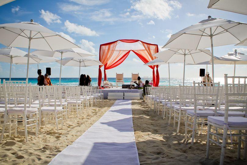 Ceremony beach setup, for Indian wedding