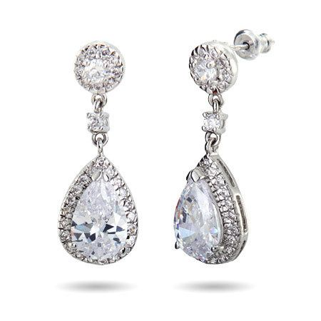 Sparkling pear-cut sterling silver and cubic zirconia drop earrings (