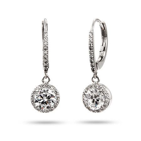 Brilliant cut sterling silver and cubic zirconia leverback earrings (BERZ10101)
