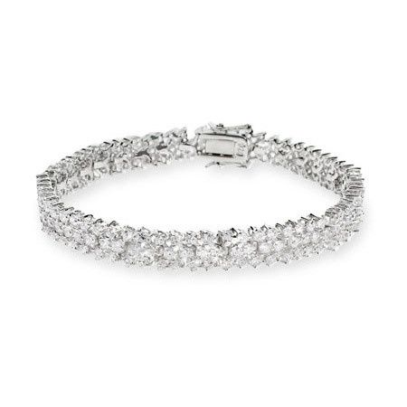 Three-row sterling silver and cubic zirconia tennis bracelet (BRZ10147)