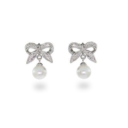 Sterling silver, cubic zirconia, and pearl bow drop earrings (ERP10035)