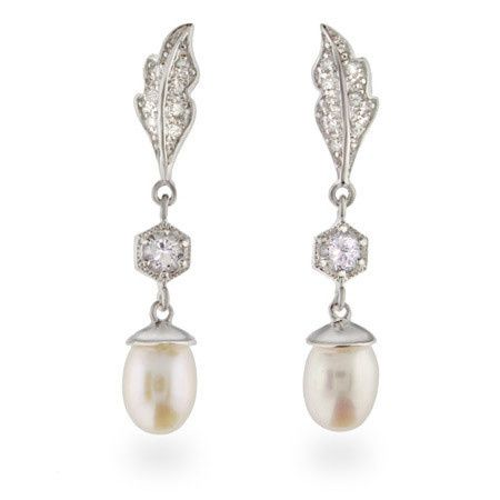 Elegant sparkling sterling silver leaf and cubic zirconia freshwater pearl drop earrings (ERP10047)
