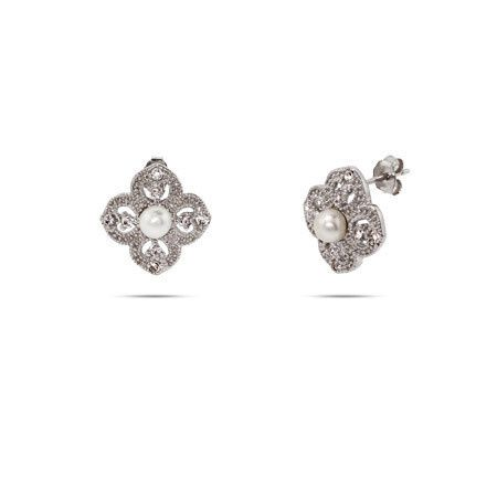 Vintage style sterling silver freshwater pearl and cubic zirconia earrings (ERP10082)