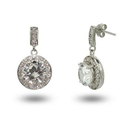 Eloise's stunning round brilliant cut sterling silver and cubic zirconia drop earrings (ERZ10634)