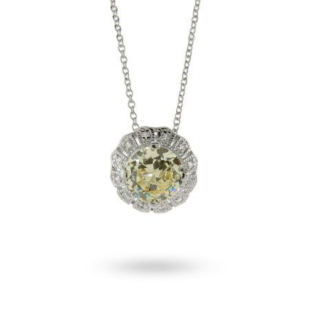 Elegant Canary and Diamond Cubic Zirconia Flower Pendant (NLZ10201)