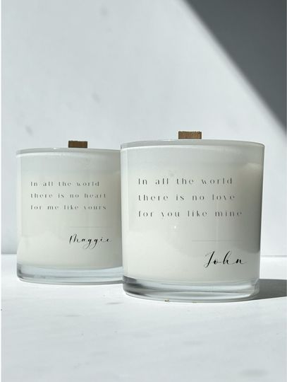 Vows on customized candles
