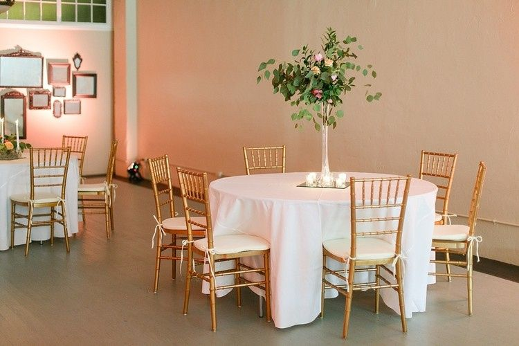 A simple Sunday wedding setup with natural light in the Tea Room.