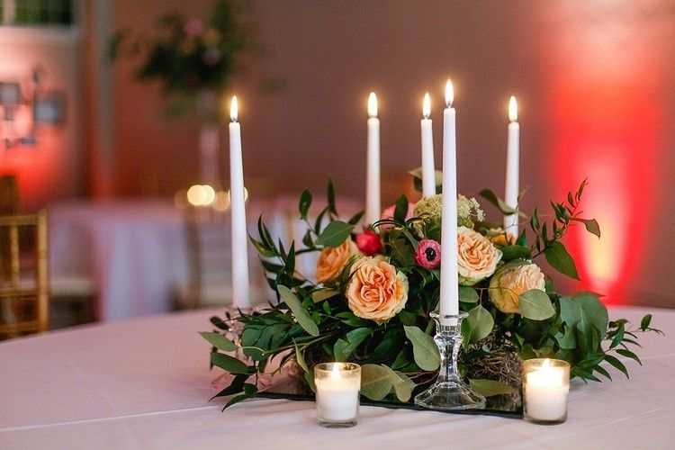 White linen and candles are always beautiful.