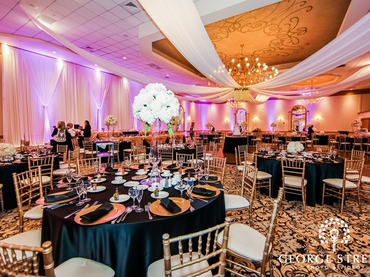 Tmx Wide Angle View Of An Empty Dining Hall Decorated With Drapes Housing Circular Reserved Tables With Black Tablecloth And Golden Chairs 51 53575 159493323680352 Rolling Meadows, IL wedding venue