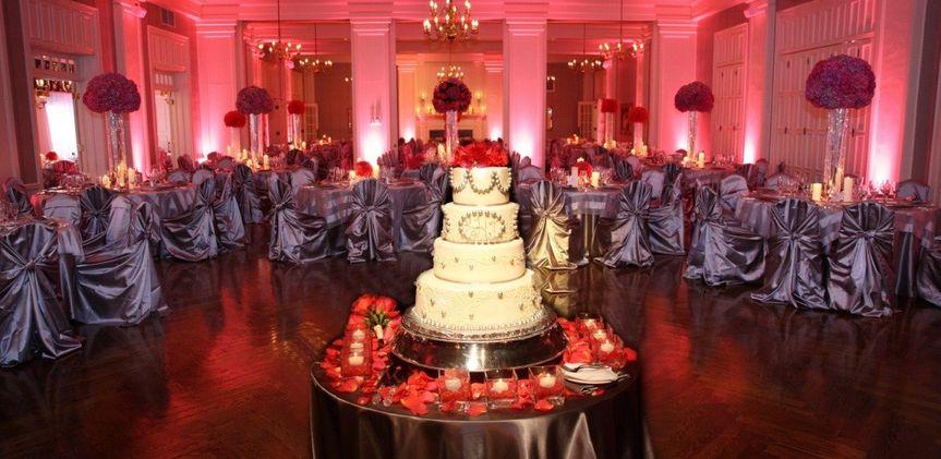silver satin wraps cake