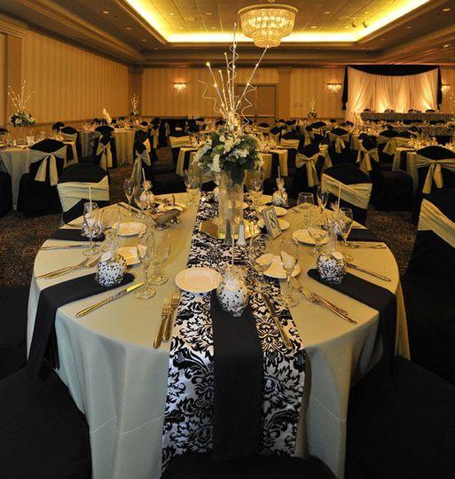 ballroom bw damask clover with backdrop