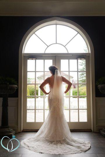 Bride looking out the door