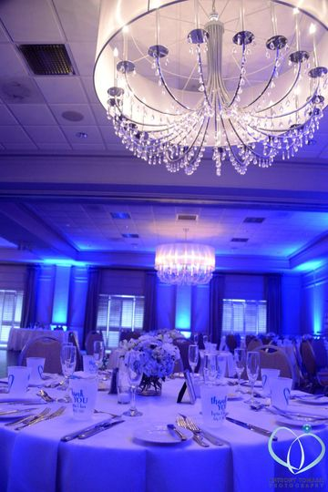 Blue reception uplights
