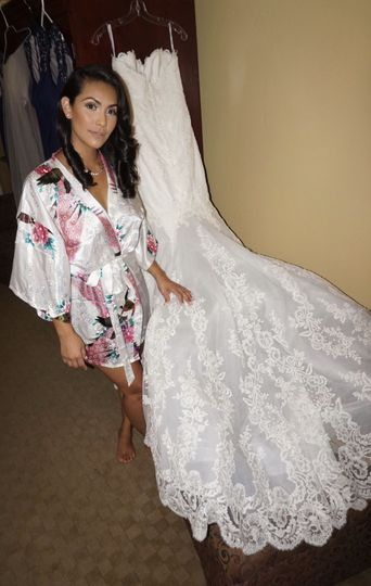 Bride with her gown
