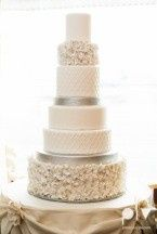 Wedding cake with silver band