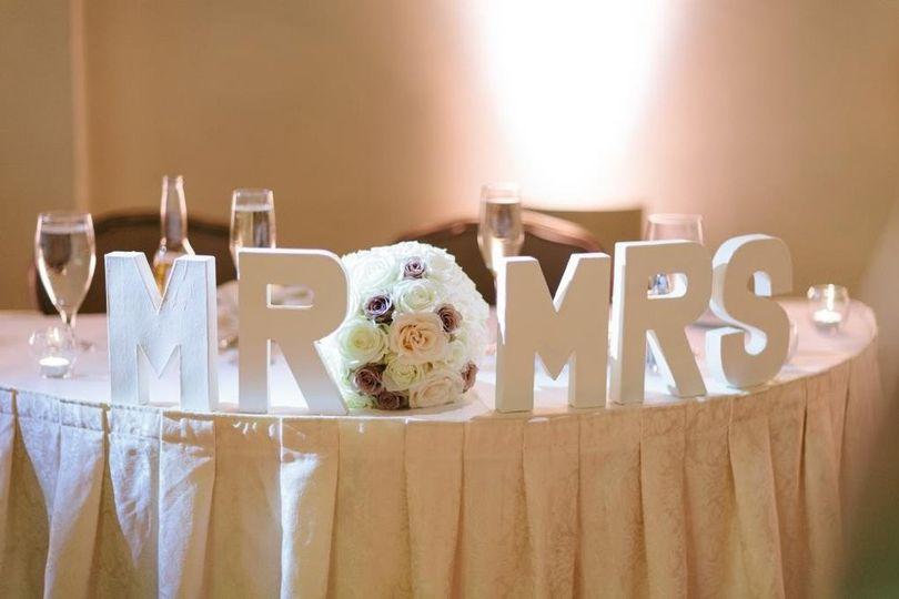 The wedding table setup