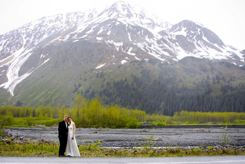Snow-capped mountains of the Resurrection River Valley make for a nice backdrop of your wedding...