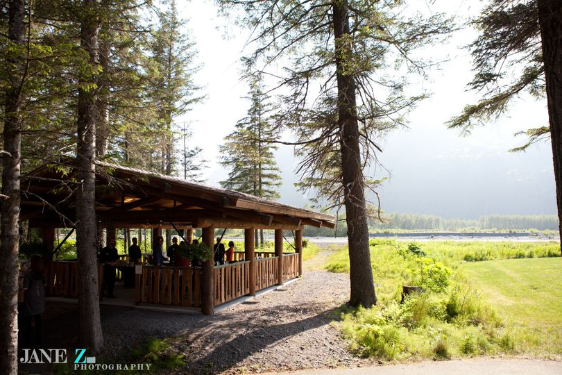 The covered, outdoor pavilion of the lodge is a perfect wedding ceremony option.