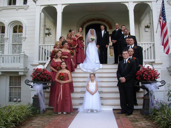 A large Mayhurst wedding and reception with the ceremony on the Front Porch.