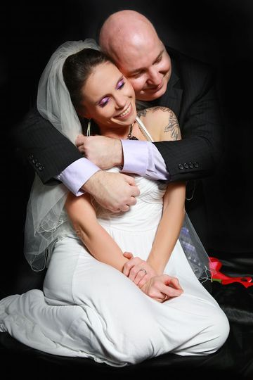 colin and darcy wedding hugging 1