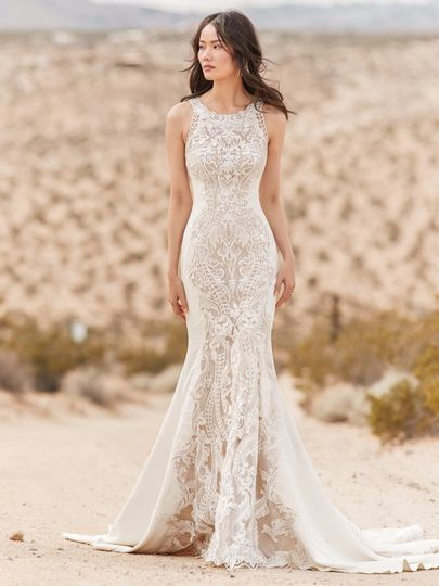 Lace gown with high neck