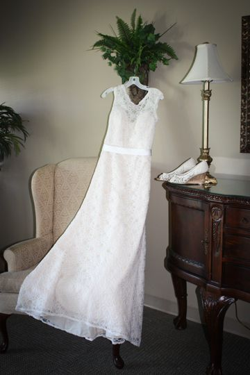 Wedding gown laid out