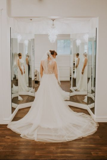 Our beautiful boutique mirror inside our bridal getting ready room