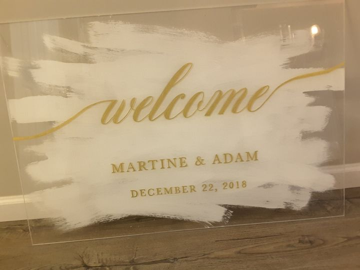 Acrylic sign with brushed pain