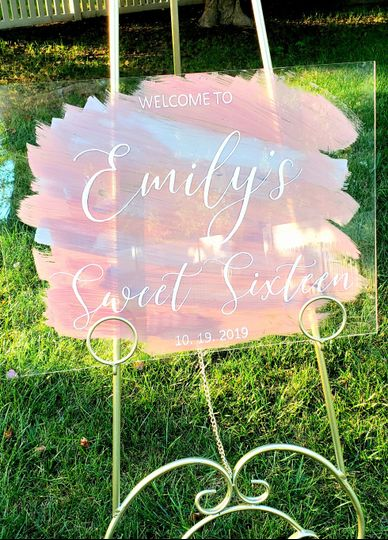 Hand painted sweet 16 sign