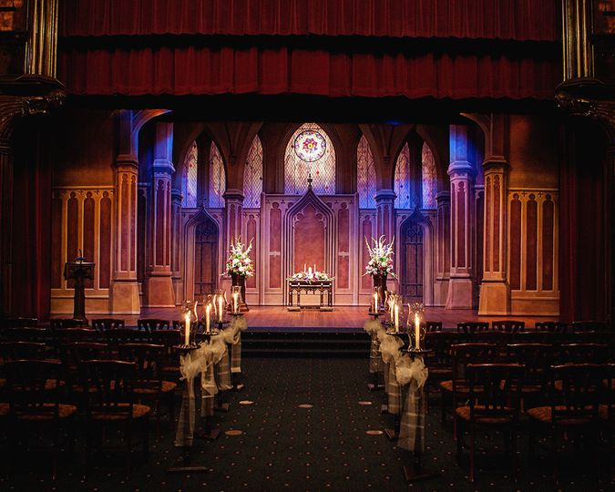 The theater is perfect for large ceremonies, our backdrop makes it feel like you are in a beautiful...