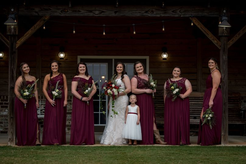 Burgundy and Ivory Bouquets