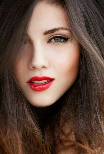 Clean look with bold lip.