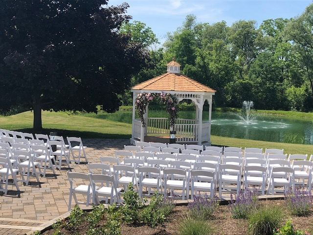 Ceremony set up by the fountain