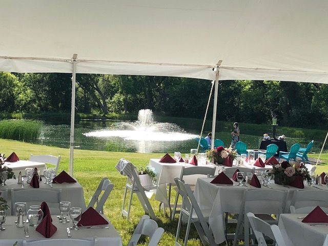 View of fountain from the tent