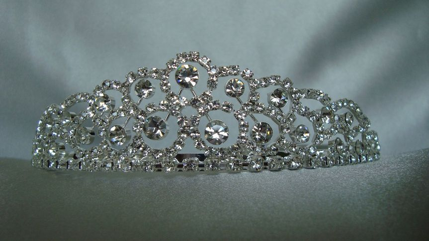 "This Classic Tiara should adorn the head of a ""princess""... It has crystal rhinestones throughout."