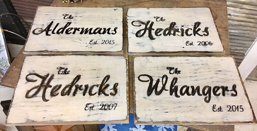 Last name/established Personalized Plaques in a distressed finish.